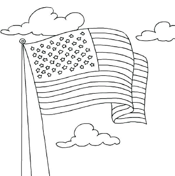 600x603 Printable American Flag Coloring Page Pin Drawn Flag Colouring