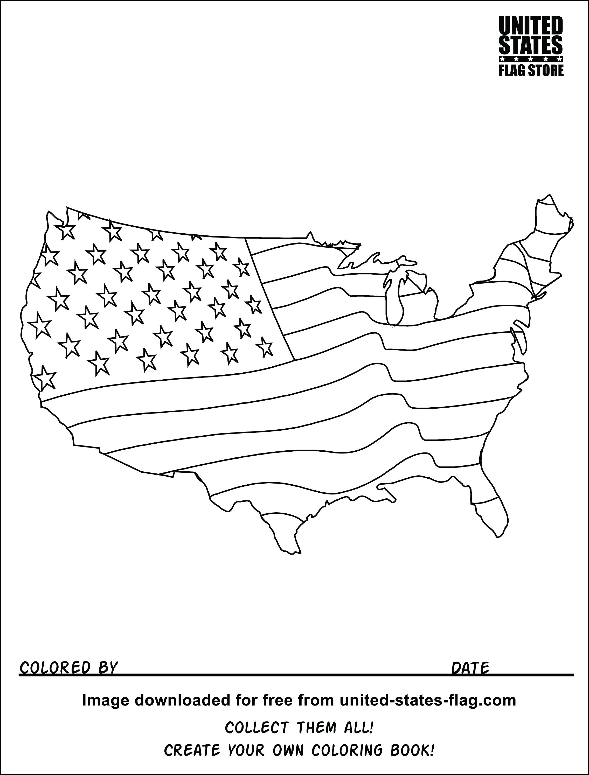 2271x2989 Coloring American Flag Coloring Page