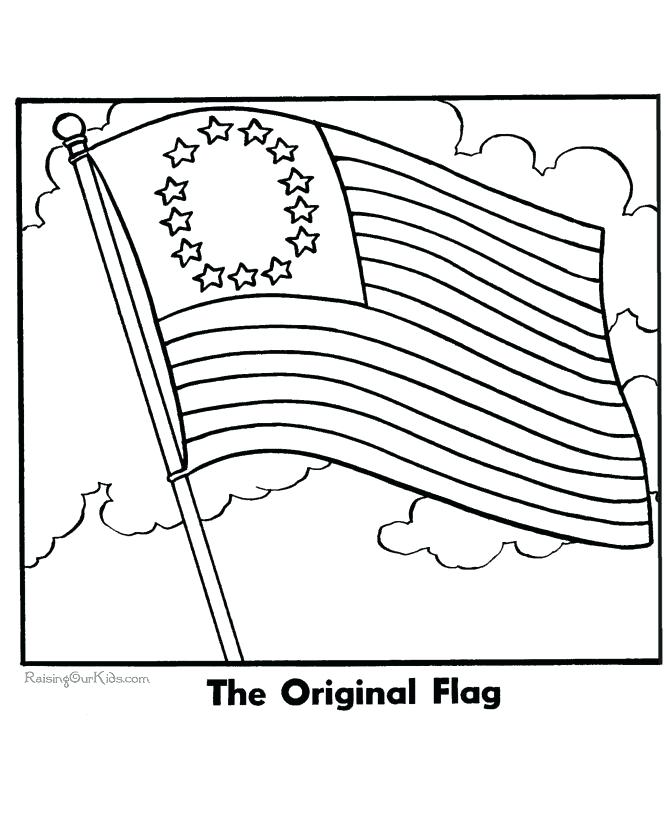 670x820 American Flag Pictures To Color Pin Drawn Flag Coloring Page 1 Usa