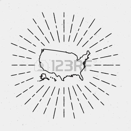450x450 Retro Sunburst Hipster Design. Usa Map Surrounded By Vintage