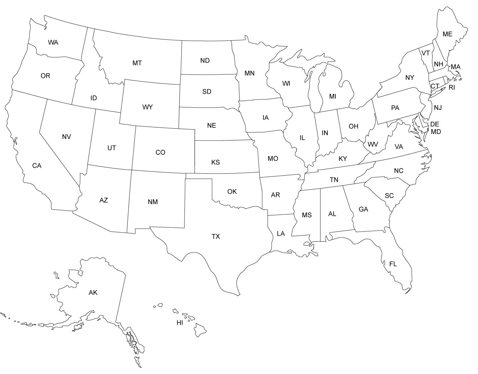 1526x1195 Blank Us Map United States Blank Map United States Maps