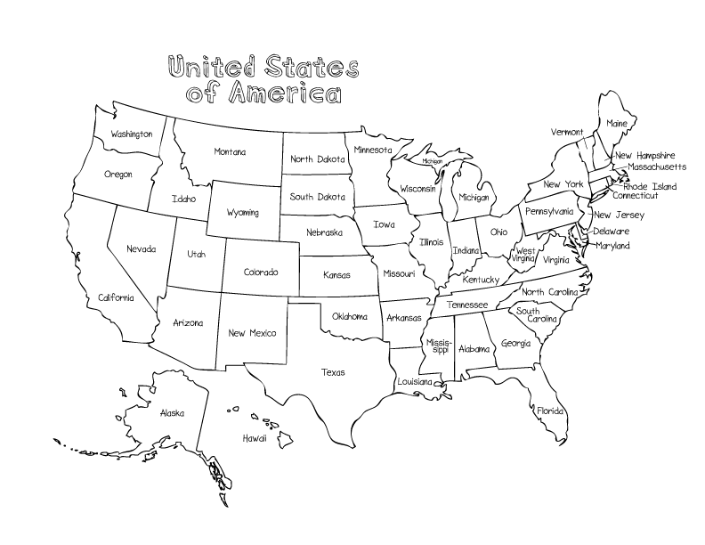 792x612 United States Map Coloring Page