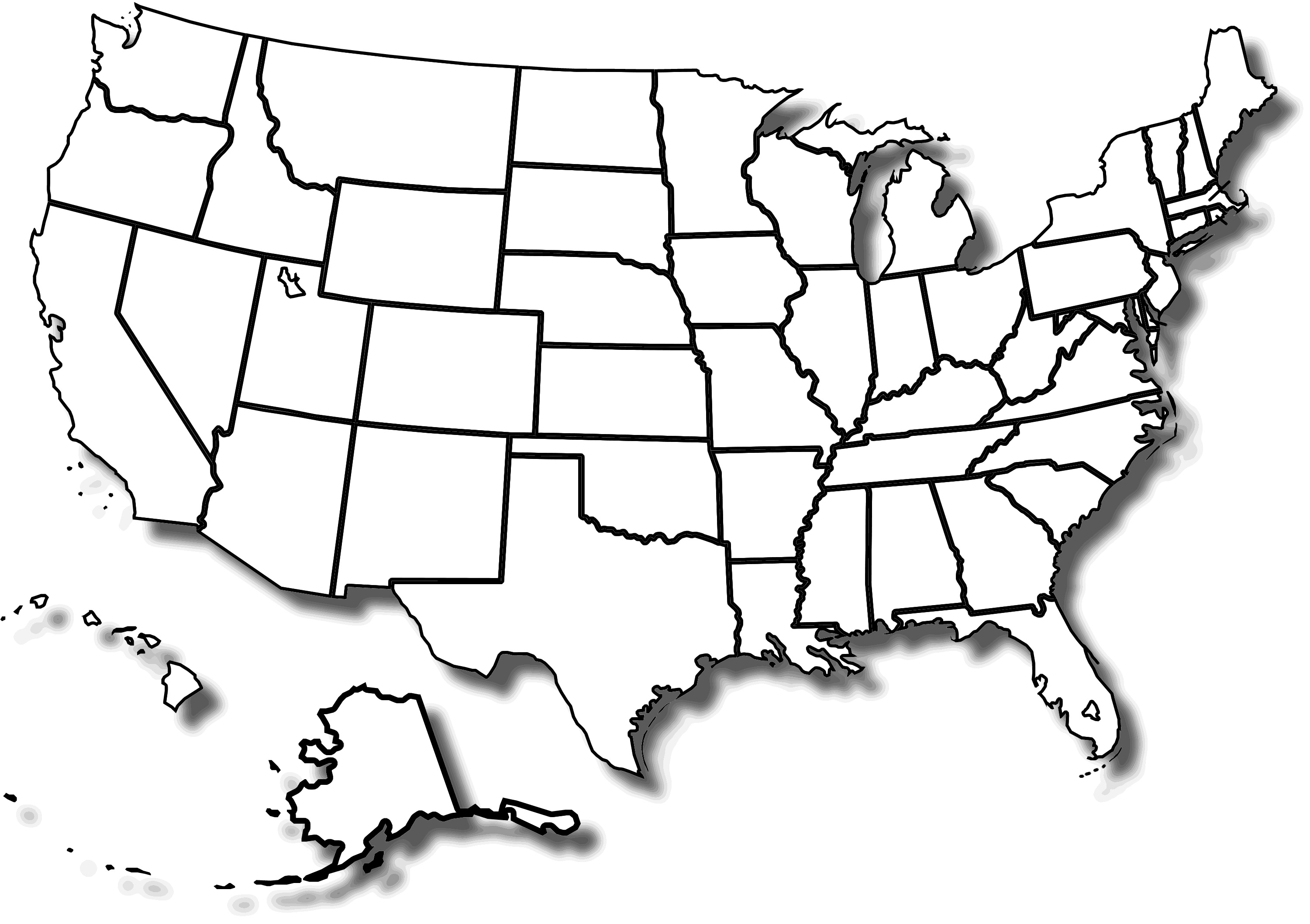 3000x2118 Blank State Map Printable 1000px Blank Us Map Borders.svg