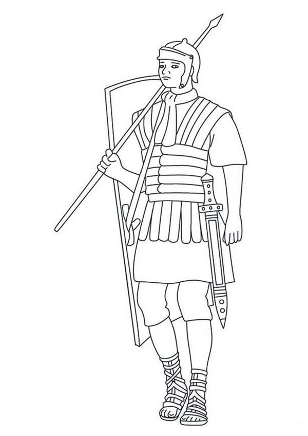 600x848 A Typical Roman Soldier Coloring Page