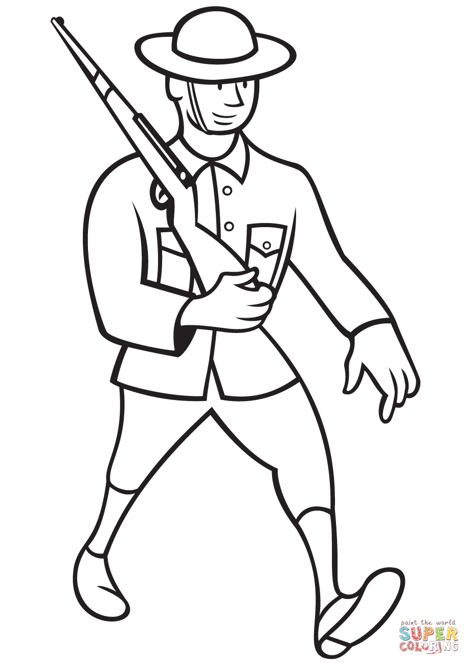 919x1300 Ww1 British Soldier Marching With Rifle Coloring Page Free