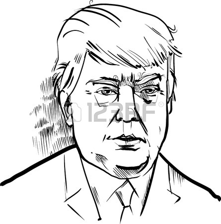 445x450 Drawing Caricature Portrait Of Donald Trump Usa Presidential