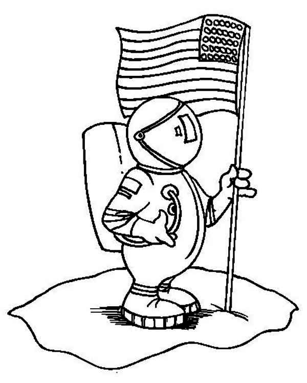600x748 An Astronaut Holding Usa Flag On The Moon Coloring Page