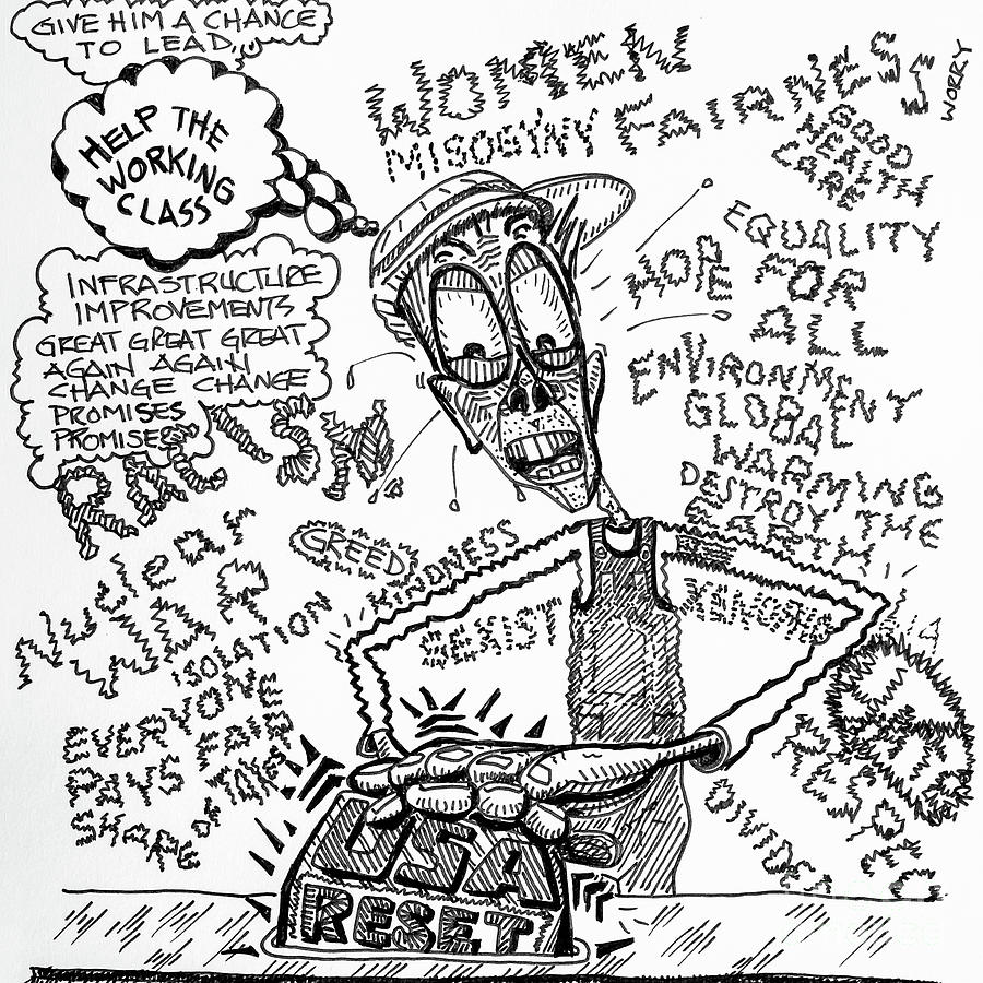 900x900 Usa Hits The Reset Button Drawing By Robert Yaeger