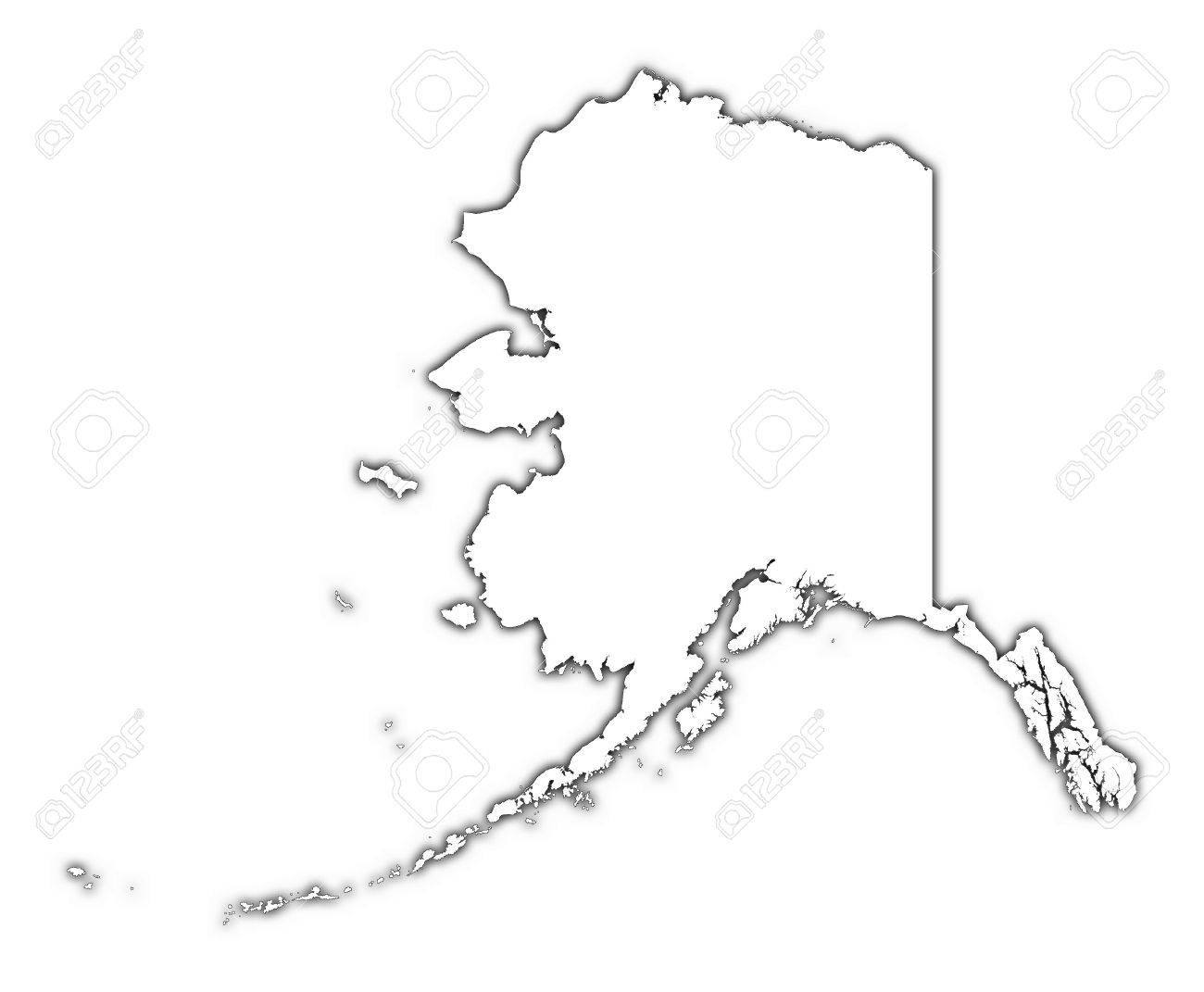 1300x1071 alaska usa outline map with shadow detailed mercator