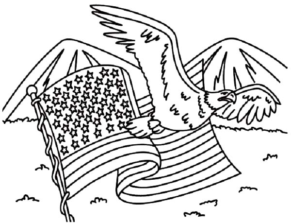 600x459 Usa Flag And Usa Eagle For Independence Day Event Coloring Pages