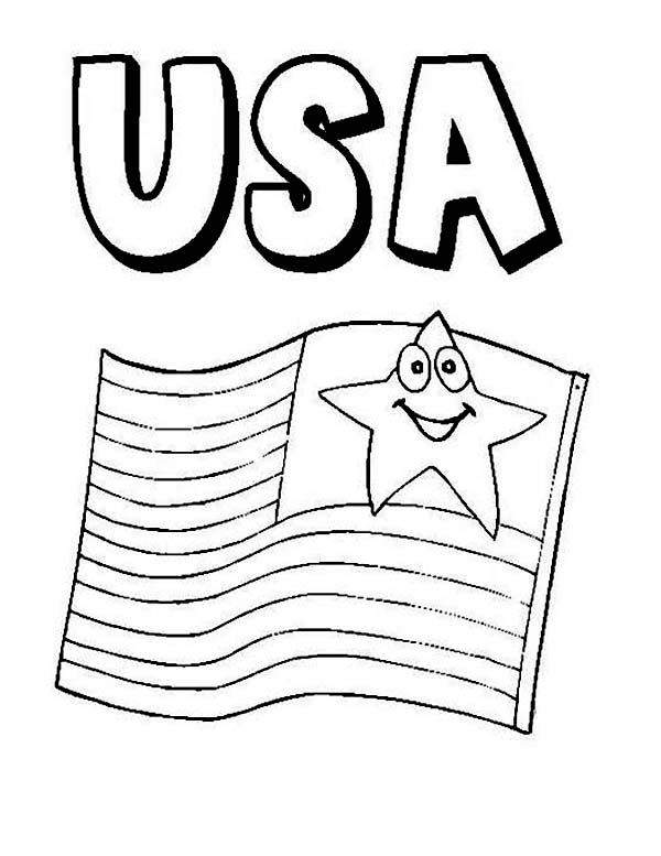 600x777 American Flag On Independence Day Coloring Page