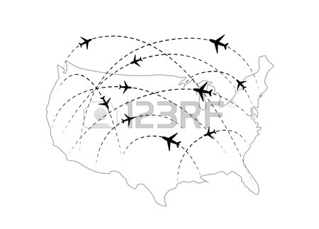 450x324 Airline Routes On Worldwide Map, Blue And White Infographic