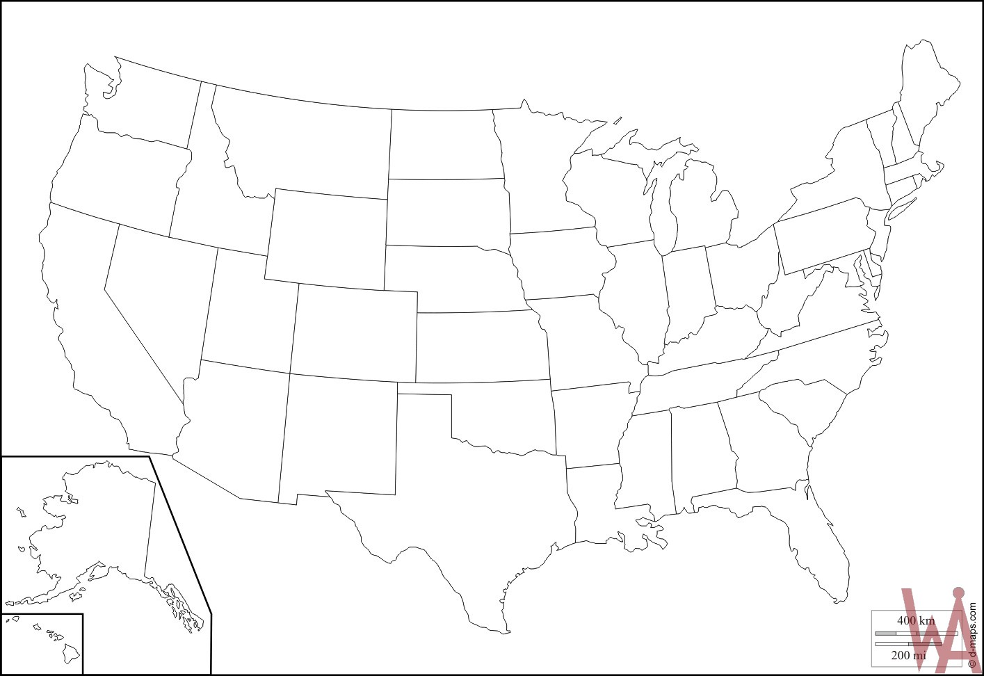 1415x972 Outline Maps Of The Usa Whatsanswer