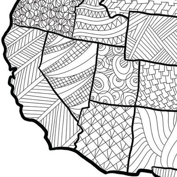 570x571 Usa Map Coloring Page Usa Map Wall Art Adult Coloring