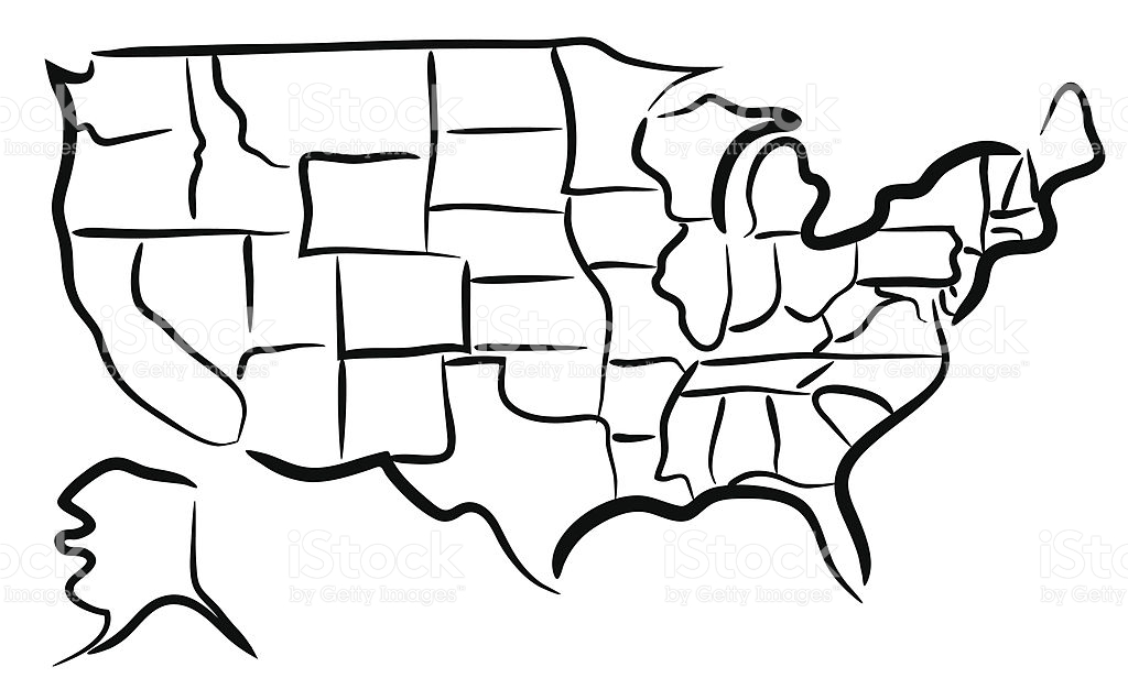 1024x626 Usa Sketch Map Stock Vector Art 509004167 Istock. Design Challenge