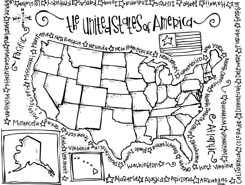 845x637 Coloring Page Map Of Usa