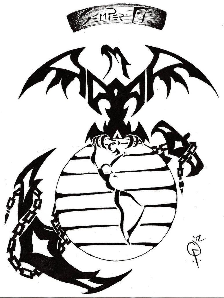 775x1031 Tribal Marine Tattoo By Goodly8663