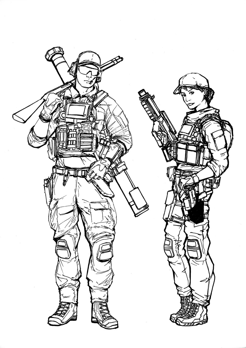 1024x1449 Bf4 Usmc Engineer Class (Line Art) By Thomchen114