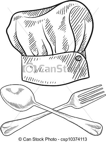 350x470 Chef Hat Sketch. Doodle Style Chef Hat With Fork And Spoon