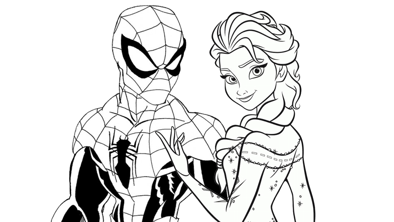 1280x720 Enjoy This Free Disney Spiderman Vs Elsa Coloring Page And Have