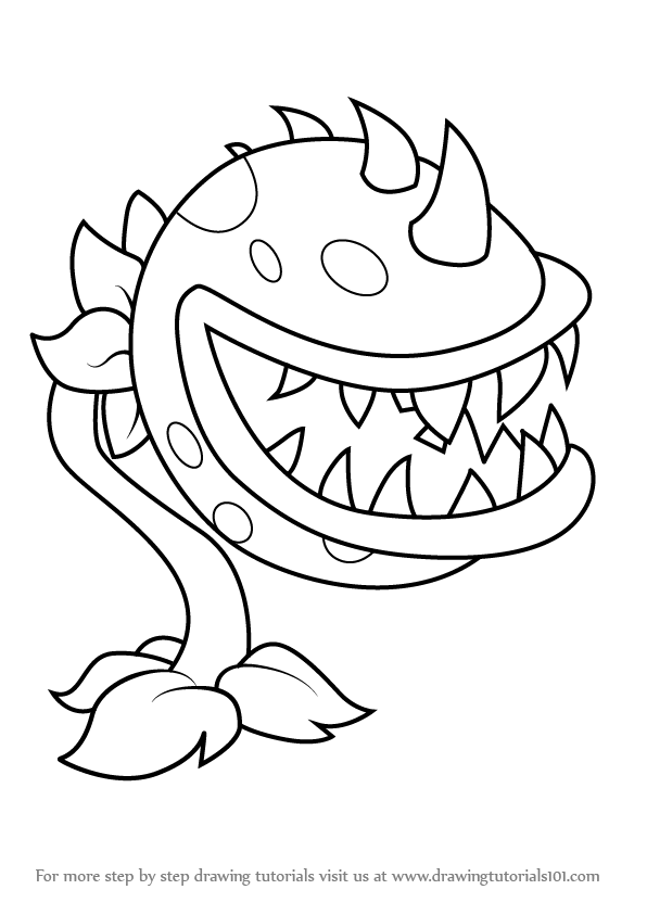 596x843 Learn How To Draw Chomper From Plants Vs. Zombies (Plants Vs