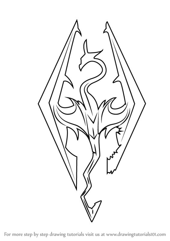 566x800 Learn How To Draw Skyrim Logo (The Elder Scrolls V Skyrim) Step