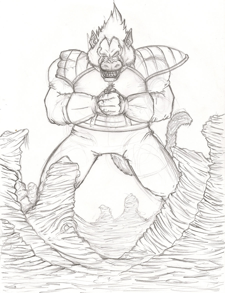900x1171 Vegeta Oozaru Vs Goku