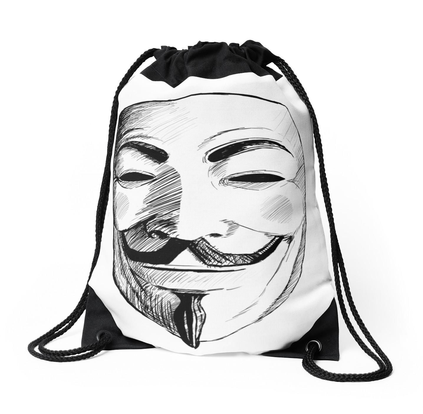 1435x1404 V For Vendetta Drawstring Bags By Thorigor Redbubble