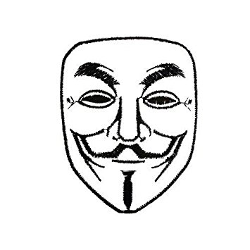 355x355 V For Vendetta Anonymous Hacker Mask Embroidered Iron