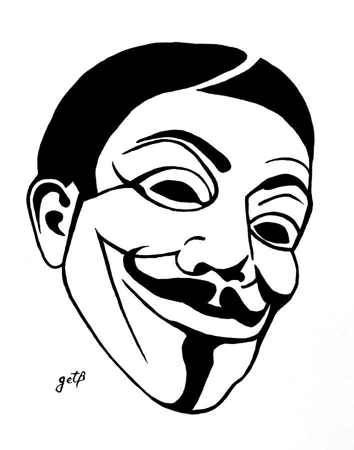 708x900 Guy Fawkes Face Original Pop Art Painting Painting By Georgeta Blanaru