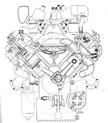 V8 Engine Drawing