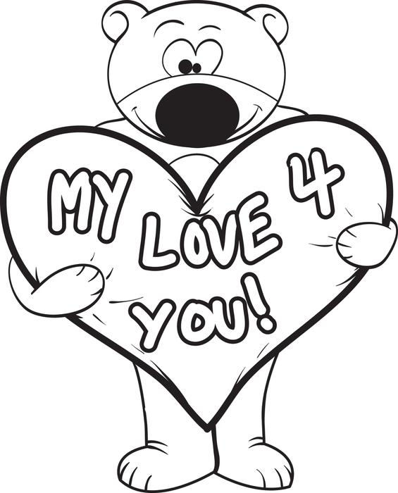 565x700 Free, Printable Valentine's Day Teddy Bear Coloring Page For Kids