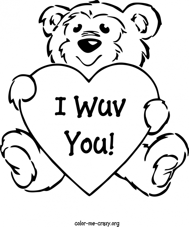 641x770 i love you teddy bear coloring pages teddy bear with heart - Coloring Page Valentine