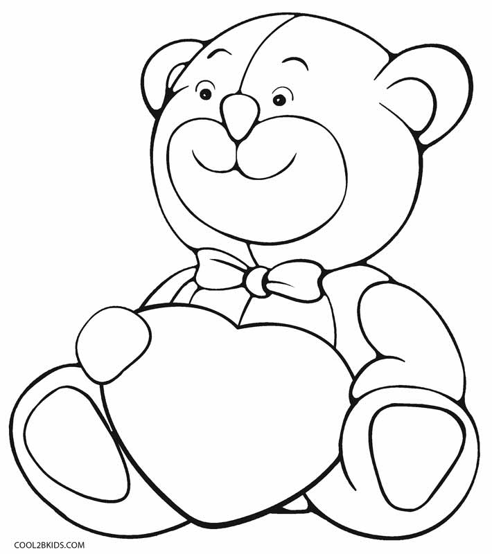 printable coloring pages of teddy bears | Valentine Bear Drawing at GetDrawings.com | Free for ...