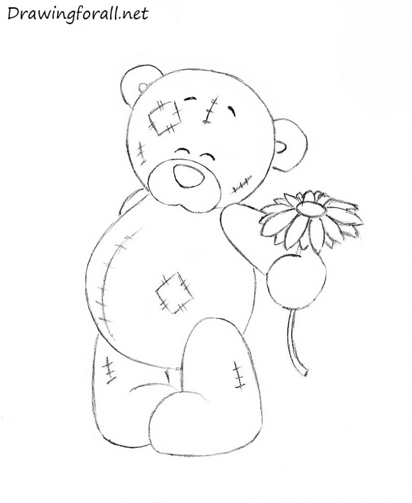 839x1024 Teddy Bear Drawing How To Draw A Valentines Bear Valentine Bear