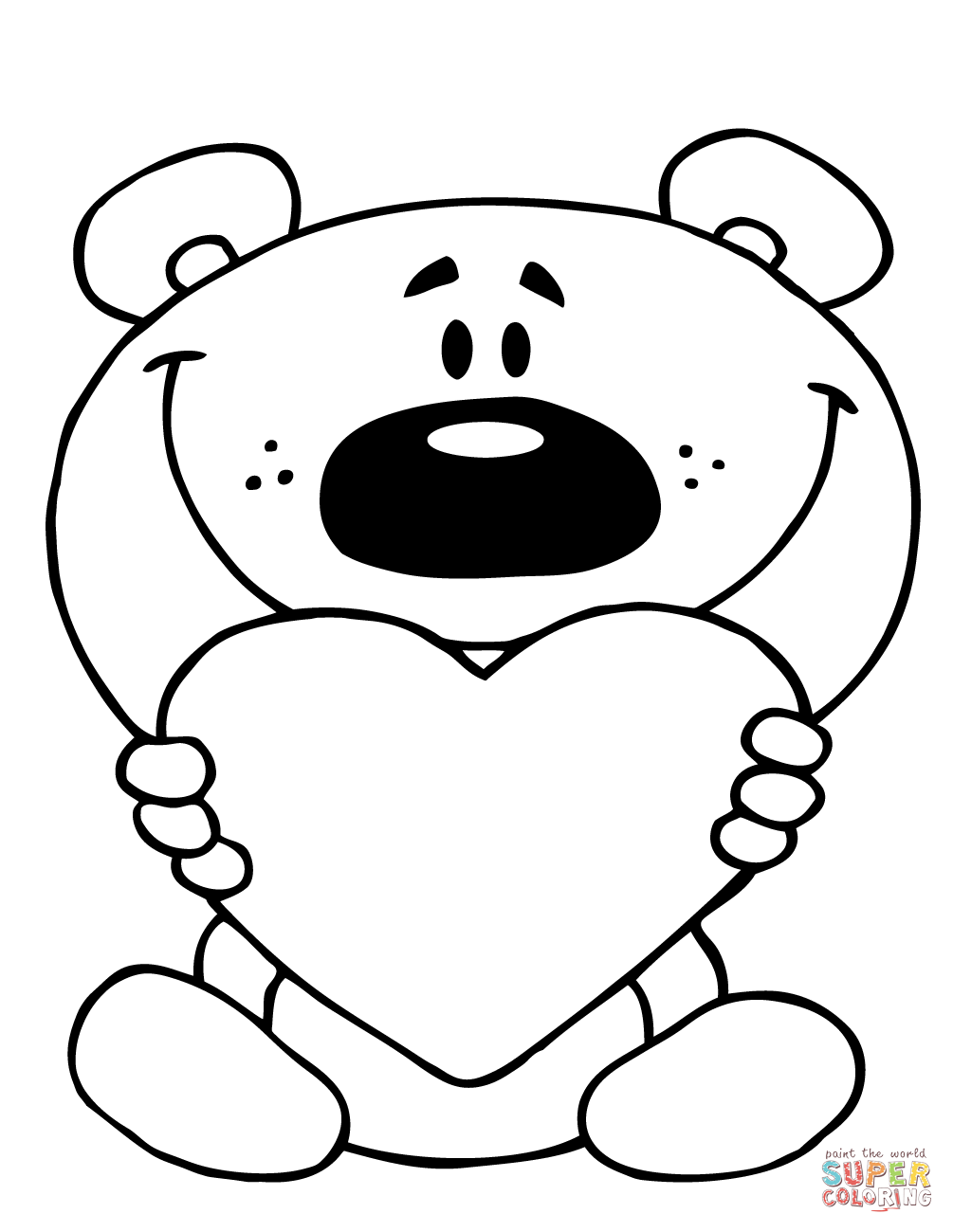 1005x1300 Teddy Bear Holding A Red Heart Coloring Page Free Printable