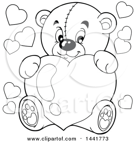450x470 Clipart Of A Black And White Lineart Valentine Teddy Bear Hugging