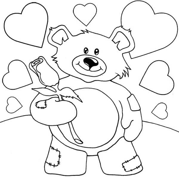 600x600 Valentine Teddy Bear Holding Rose Coloring Page Color Luna