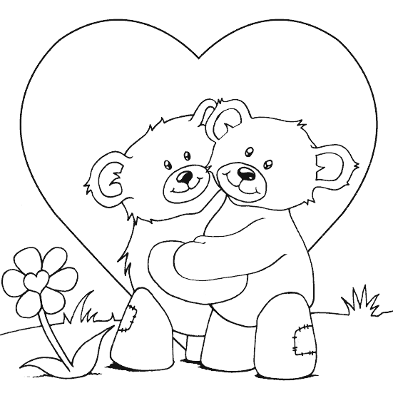 551x551 Teddy Bears Cuddling Coloring Page