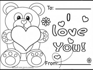320x240 Coloring Valentine Cards Printable Valentines Day Cards Teddy
