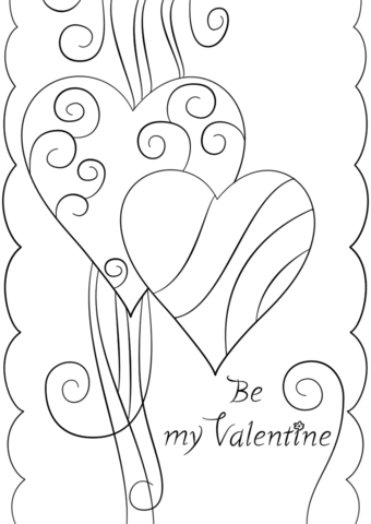 340x480 Valentine's Day Card Be My Valentine Coloring Page Free