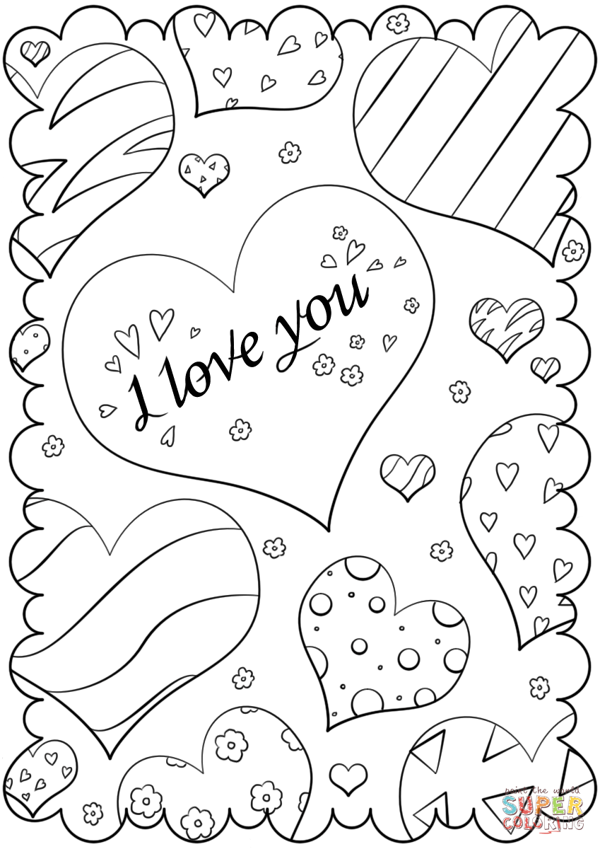 849x1200 Valentine's Day Card I Love You Coloring Page Free Printable