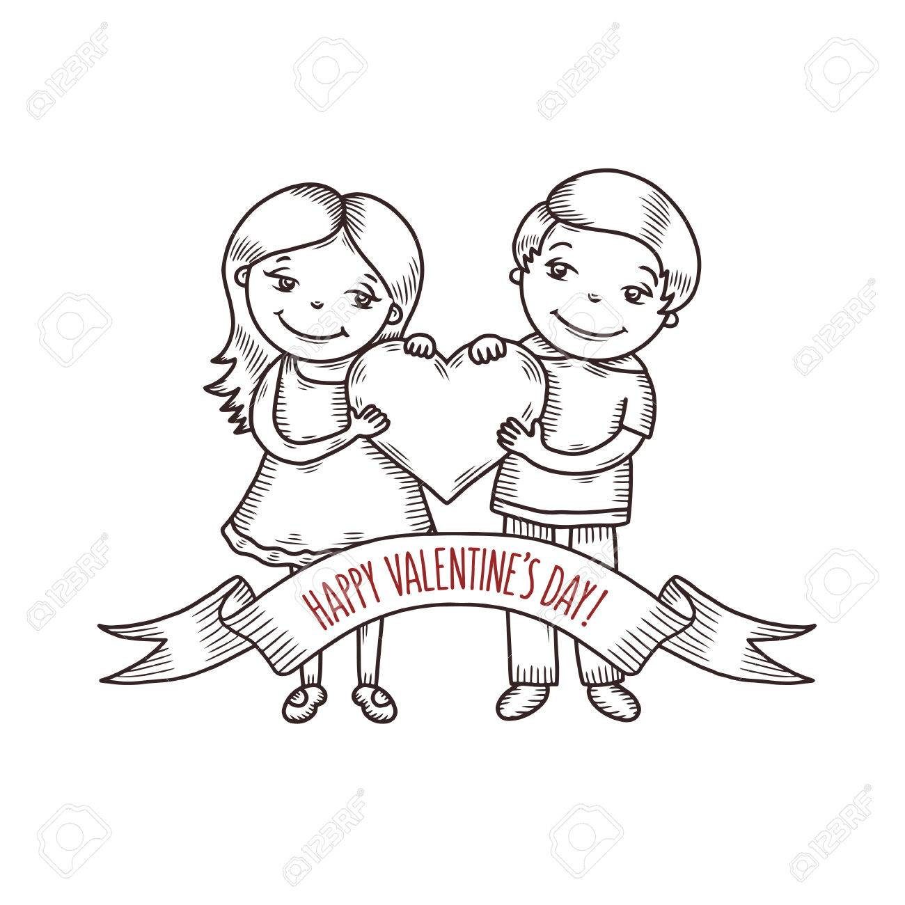 1300x1300 Valentine Day Greeting Card Hand Drawn Boy And Girl