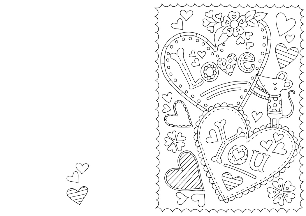 1050x742 Free Valentine's Card Colouring Download