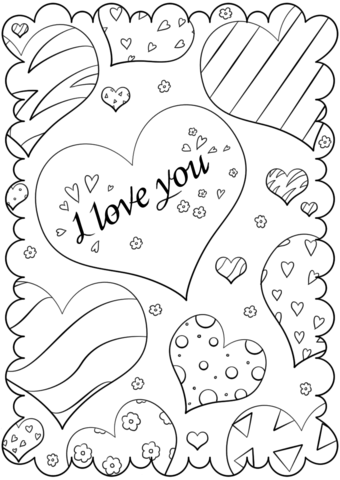 340x480 Valentine's Day Card I Love You Coloring Page Free Printable