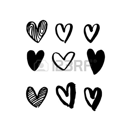 450x450 Valentine Day Hearts Pattern. Vector Isolated Heart Valentines