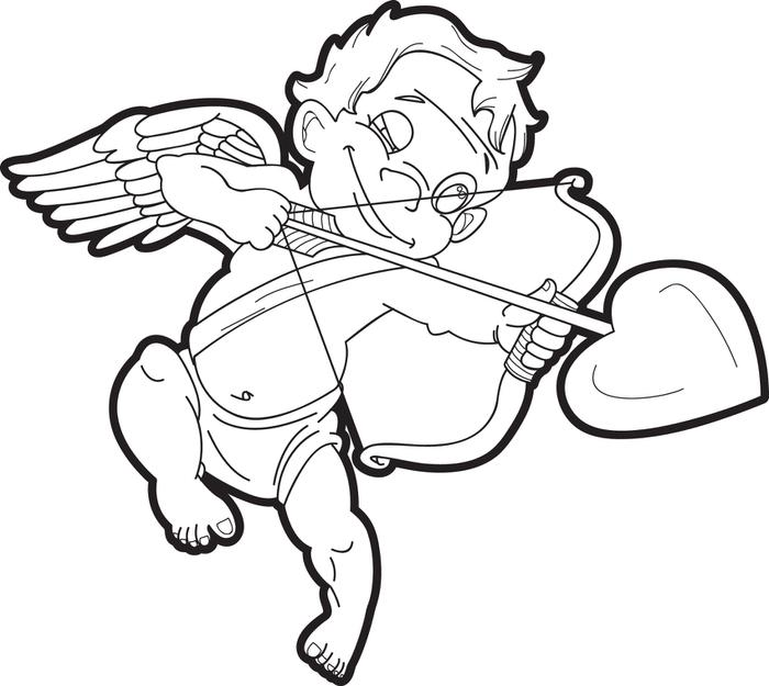 700x625 Free, Printable Cupid Coloring Page For Kids
