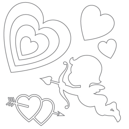 420x420 Valentine's Day Ideas Printable Hearts, Arrow Pattern And Cupid