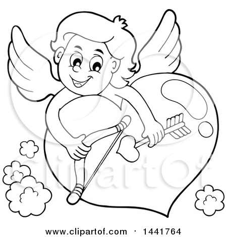 450x470 Clipart Of A Black And White Lineart Valentines Day Cupid Holding
