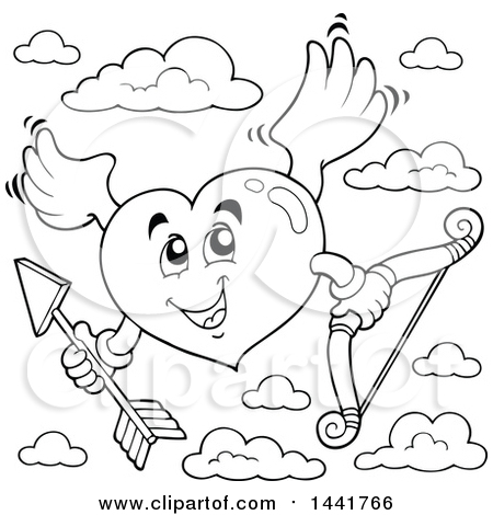 450x470 Clipart Of A Blackd White Valentines Day Heart Cupid Holding